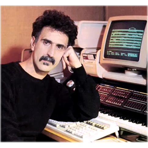 Frank Zappa pictured with his Synclavier® Digital Audio System, mid 1980s