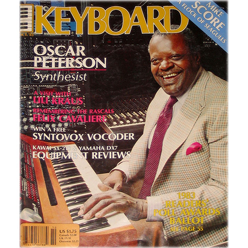 Oscar Peterson pictured with his Synclavier® II, cover of Keyboard Magazine, 1983